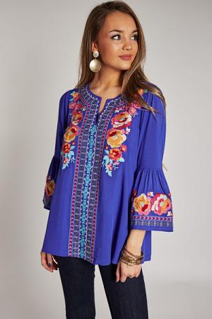 Remi Embroidery Tunic, Royal Bl