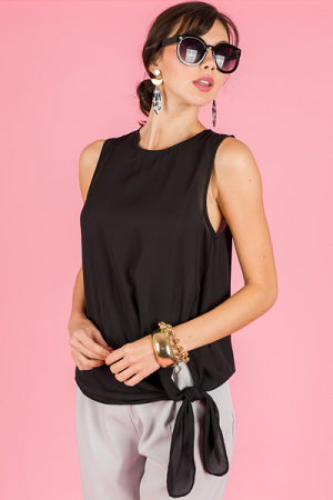Side Tie Tank, Black