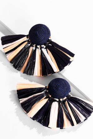 Raffia Fan Earrings, Navy
