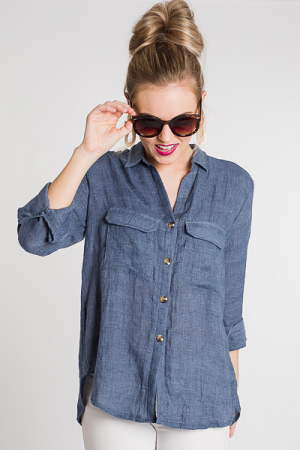 Easy Day Button Up, Blue