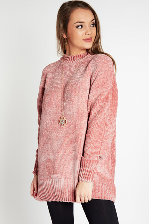 Round Neck Chenille, Blush