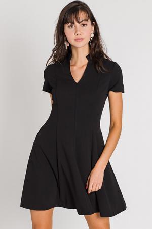 Ruffle Neck Dress, Black